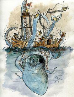 Kraken 1  #kraken #pirate #hamster #sea #illustration #art #squid
