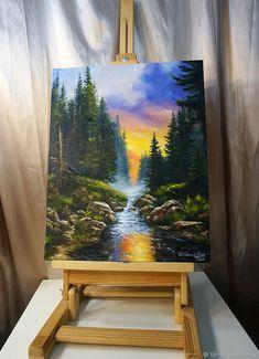 Canvas Painting Tutorials, Acrylic Painting Canvas, Indian Art Paintings, Nature Paintings, Landscape Paintings, Posca Art, Large Canvas Art, Creative Art, Watercolor Art