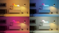A montage of the Nanoleaf Aurora in the same room, but showing different colours.