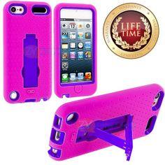 Amazon.com: myLife (TM) Vibrant Pink + Purple Layered Survivor (Built In Kickstand) Hybrid 3 Layer Case for Apple iPod 5 (5G) 5th Generation...