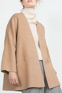 Pure Color Long Sleeve Worsted Coat