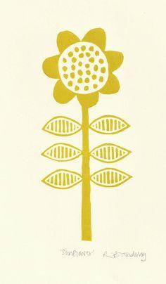 Sunflower lino print ochre by ruthbroadway on Etsy, £25.00