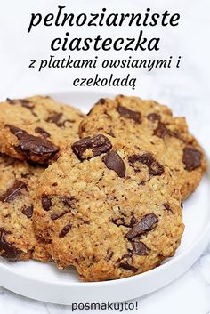 posmakujto!: Pełnoziarniste ciasteczka z czekoladą Sweets, Cookies, Breakfast, Desserts, Recipes, Food, Sweet Pastries, Crack Crackers, Morning Coffee
