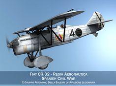 fiat cr 32 - italy air force - gruppo baleari 3d model obj fbx c4d lwo lw lws mtl 1
