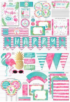 Ideas For Party Summer Flamingo Luau Pool Parties, Birthday Parties, Birthday Diy, Birthday Ideas, Birthday Wishes, Festa Party, Diy Party, Party Kit, Party Favors