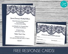 Printable lace invitation template free color changes wedding lace wedding invitation template free response card template instant download edit text stopboris