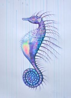 'Neptune Rising', pencil, Bible-marker & ink ob Bockingford paper , by Louise McNaught Seahorse Image, Seahorse Art, Seahorses, Sea Drawing, Painting & Drawing, Art And Illustration, Illustrations, Animal Drawings, Art Drawings