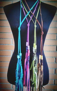 HANDMADE LEATHER NECKLACE- Long Fringe Necklace- Boho Leather Jewelry- Original Tassel