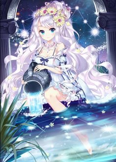 Anime picture with qurare:magic library bobyeonggung e-nya single tall image blush looking at viewer blue eyes breasts smile simple background fringe bare shoulders sitting very long hair holding silver hair cleavage barefoot hair flower Anime Chibi, Manga Anime, Film Manga, Manga Girl, Art Kawaii, Manga Kawaii, Kawaii Anime Girl, Anime Girls, Pretty Anime Girl