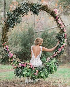 Rustic wedding grapevine large wreath decorated with greenery. Absolutely stunning rustic wedding decor and backless wedding dress Wedding Trends, Boho Wedding, Wedding Ceremony, Rustic Wedding, Wedding Flowers, Dream Wedding, Wedding Day, Wedding Swing, Wedding Dresses