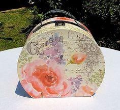 French-Rose-Suitcase-Hat-Box-Keepsake-Decorative-Storage-Box-Handle-Shabby-Chic