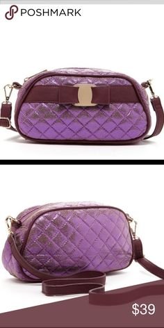 "Metallic Plum Quilted Crossbody Bag Purse Metallic slightly distressed Plum Detachable, adjustable shoulder strap Quilted. Interior features zip wall pocket and 2 media pockets Approx. 6.5"" H x 10.25"" W x 2.5"" D 