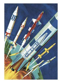 Rockets in Flight Art Print at AllPosters.com