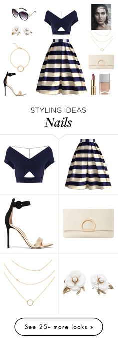 """romantic stroll"" by supabebek on Polyvore featuring Roland Mouret, Chicwish, Dune, Gianvito Rossi, Avenue, Nails Inc., Betsey Johnson, croptop, stripes and midiskirt"