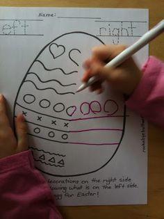 Left & Right Drawing Concept / Easter Hand-Drawn Printables Easter Activities, Spring Activities, Holiday Activities, Activities For Kids, Activity Ideas, Kindergarten Crafts, Preschool Crafts, Easter Crafts, April Preschool