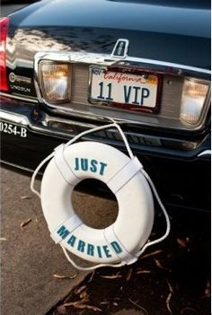 Seaside/Nautical wedding: LOVE this idea. I would have this as decoration on the… Seaside/Nautical wedding: LOVE this idea. I would have this as decoration on the top table Wedding Getaway Car, Yacht Wedding, Cruise Wedding, Dream Wedding, Wedding Cars, Wedding Stuff, Destination Wedding, Gold Wedding, Wedding Signs