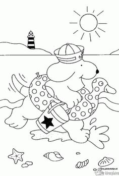 coloring page Spot on Kids-n-Fun. Coloring pages of Spot on Kids-n-Fun. More than coloring pages. At Kids-n-Fun you will always find the nicest coloring pages first! Coloring Book Pages, Coloring Sheets, Summer Decoration, Summer Crafts For Kids, Toddler Crafts, Beach Fun, Summer Activities, Preschool, Kids Rugs