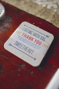 #thank-you coasters for guests to take home  Photography: Brooke Courtney Photography - brookecourtney.com  View entire slideshow: Fabulous Favors on http://www.stylemepretty.com/collection/303/