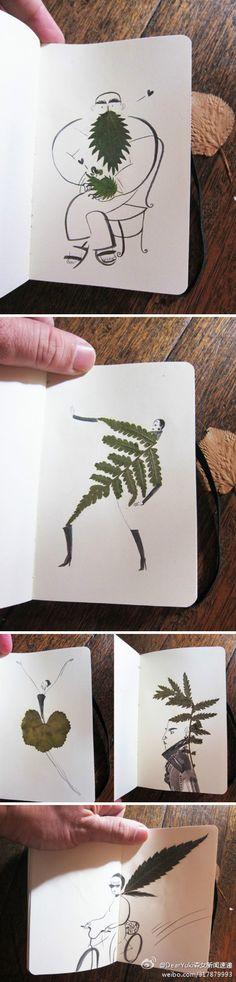 以树叶为素材创作的插画,现实与绘画巧妙结合。