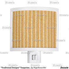 """Traditional Designs"" Tangerine Floral & Stripe"
