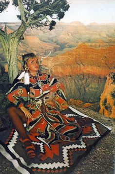 Vogue UK 1971 Jan Ward by Norman Parkinson on a Navajo Indian's carpet