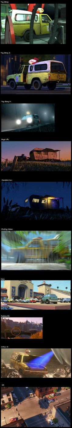 The Pizza Planet truck appears in all Pixar movies. Those sneaky artists love having fun :D