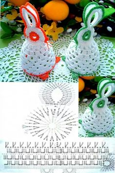 Christmas Crochet Patterns Part 8 - Beautiful Crochet Patterns and Knitting Patterns Easter Egg Pattern, Crochet Motifs, Christmas Crochet Patterns, Crochet Chart, Crochet Doilies, Crochet Flowers, Easter Projects, Easter Crafts, Crochet Bunny