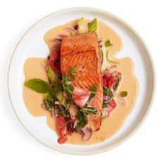 A fabulous, simple-enough-for-a-Wednesday dish using three staples: Bok choy, coconut milk and onion. Recipe:  Salmon with Spicy Coconut Sauce