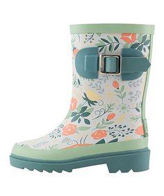 Love this Blue & Coral Floral Rain Boot - Kids on #zulily! #zulilyfinds