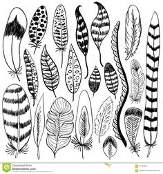 hand-drawn-doodle-vector-feathers-set-elements-vol-black-silhouettes-white-tribal-boho-cards-background-57727336.jpg (1300×1390)