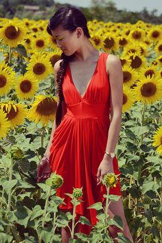 Sleeveless vneck draped short dress in silky fire red by Nmeno1, €85.50