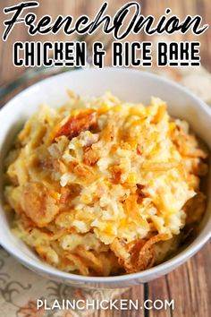 French Onion Chicken and Rice Bake recipe - chicken, french onion dip, cream of chicken soup, cheddar cheese, rice and french fried onions - use rotisserie chicken and it is ready for the oven in 5 minutes! On the table in 20 minutes! Rice Bake Recipes, Onion Recipes, Baked Chicken Recipes, Baking Recipes, Recipe Chicken, Casserole Recipes, Quick Recipes, Rice Casserole, Dessert