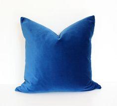Dark Blue Velvet Designer Pillow Cover 17x17. $75.00, via Etsy.