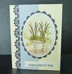 Art Impressions Rubber Stamps: Wonderful Watercolor: handmade water color card with pot and flowers, foliage.