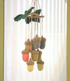 Nursery decorative hanging Mobile felted pastel wool by astashtoys, $45.00