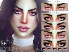 The Sims Resource: Feline Eyeliner N57 by Pralinesims • Sims 4 Downloads