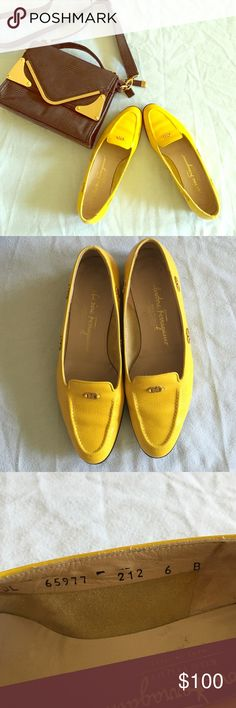 🌻Salvatorre Ferragamo Yellow Loafers🌻 Authentic Salvatore Ferragamo Loafers. Size 6. Wears on soles and minor discoloration at the back heel. This doesn't come with it's original . Sorry I can't model. More photos posted somewhere in my closet😎 Please ask question before buying, keep in mind that these are EUC pair so there are wears. Offers welcome. Salvatore Ferragamo Shoes Flats & Loafers