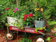 Buckets of plants in a little red wagon.