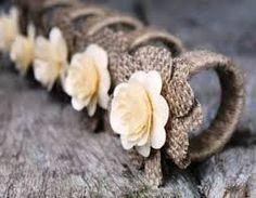 Rustic Napkin Rings Burlap and Wood Roses - Set of 4 - . Rustic Napkin Rings Burlap and Wood Roses – Set of 4 – … – decor Burlap Projects, Burlap Crafts, Diy And Crafts, Craft Projects, Rustic Napkin Rings, Rustic Napkins, Paper Flowers Wedding, Burlap Flowers, Craft Flowers