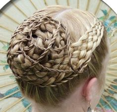 braided bun with twisted ropes hairstyle