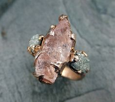 CUSTOM Raw Morganite Diamond Rose Gold Engagement Ring Wedding Ring Custom One…