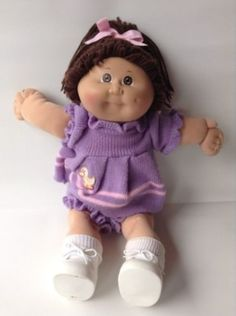 1984 Cabbage Patch Kids Doll, Girl, Brown Hair, Original CPK Clothing, Shoes