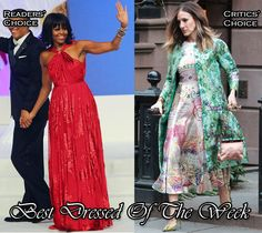 Michelle Obama wearing Jason Wu.  Sarah Jessica Parker expertly blends a variety of prints courtesy of Giambattista Valli Couture, Mary Katrantzou and Jean-Michel Cazabat and make them work together. <3