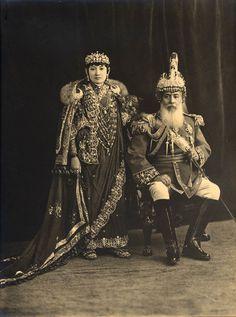 Maharaja Sri Teen Chandra Shamsher Jang Bahadur Rana and his second wife - c.1910