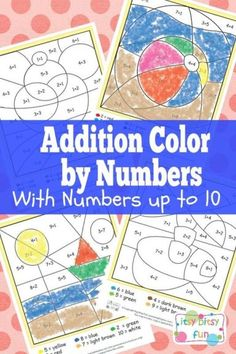 Summer Addition Color by Numbers Simple coloring activity cards for preschool age and kindergarten aged children.