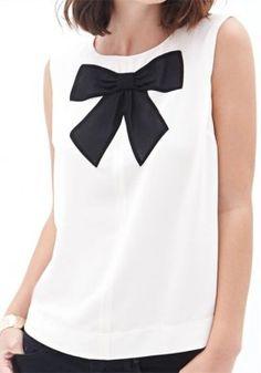 New Arrival Europe Spring New Zipper Fashion Big Bow Sleeveless T-Shirt Shirt