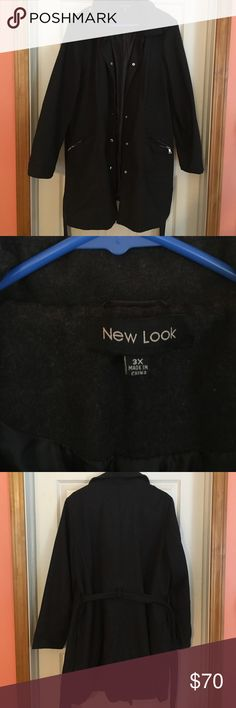 Women's Coats Charcoal/Black Plus Size Coat in 3X NWOT purchased this pass winter but never used it New Look Jackets & Coats Pea Coats