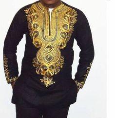 Men's Dashiki Shirt / Angelina Shirt/ African Print by AdinkraExpo African Attire, African Wear, African Dress, African Style, Dashiki Shirt, Dashiki Dress, Dashiki For Men, African Dashiki, African Tops