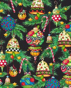 Mary Engelbreit Fabric / Trimming the Tree / Christmas Noel Christmas, Christmas And New Year, Vintage Christmas, Christmas Crafts, Christmas Decorations, Christmas Ornaments, Xmas, Pintura Country, Theme Noel