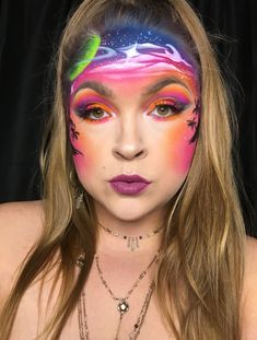 Space makeup ✨🌙   Instagram.com/janelle_raisch Creative Eye Makeup, Makeup Art, Makeup Looks, Carnival, Halloween Face Makeup, Eyes, Space, Painting, Instagram